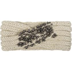 styleBREAKER Stirnband Strick Stirnband mit Twist Knoten und silbernen Perlen Strick Stirnband mit Twist Knoten und silbernen Perlen