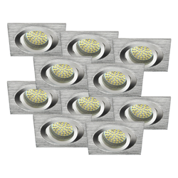 LED Einbaustrahler 10erSET MR16, GU5.3 warmweiß, eckig 5W Marken-LEDs
