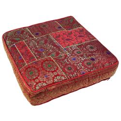 Guru-Shop Sitzkissen Orientalisches eckiges Patchwork Kissen 50 cm,.. rot