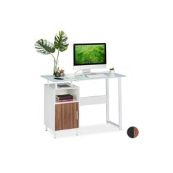relaxdays Schreibtisch Schreibtisch mit Glasplatte