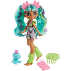 Mattel® Anziehpuppe Cave Club, Rockelle, prähistorische Modepuppe mit Haus-Dinosaurier