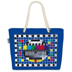 VOID Strandtasche (1-tlg), Testbild Monitor Bildschirm Fernseher weiß