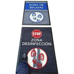 HostelNovo - Alfombra desinfectante para calzado - Desinfección y secado para la suela de zapatos - Texto en español - 2 piezas - Medidas: 60 x 85 cm
