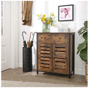 VASAGLE Kommode LSC86BX, Sideboard mit Schublade, für Wohnzimmer, Schlafzimmer, Flur, mit Lamellentüren-Design, vintage