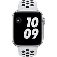 Apple Watch Series 6 Nike GPS + Cellular 44 mm Aluminiumgehäuse silber, Nike Sportarmband Pure platinum / schwarz