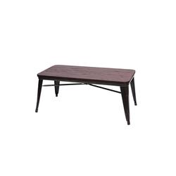 MCW Couchtisch MCW-H10, Tischplatte aus Ulme Holz, Industrie-Design,Strukur auf Tischplatte