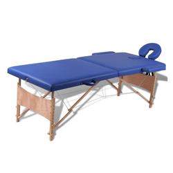 vidaXL Massageliege Massagetisch Massageliege Massagebank Kosmetik Therapieliege 2 Zonen + Tasche blau
