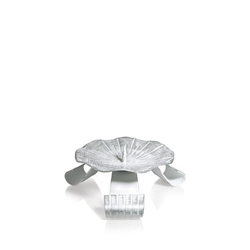 Taufkerzenhalter Dreifuß Eisen weiß/silber gelackt mit Dorn Ø 10 cm für Taufkerzen