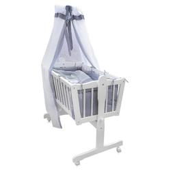 Oskar Babybett Baby Wiege Kinder Bett Stubenwagen Beistellbett + 9 tlg. Zubehör Weiß Grau