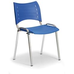 Kunststoffstuhl smart, chromfüße, blau