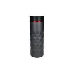 elasto Thermobecher Diamond (1-tlg), 450ml Kaffeebecher To Go aus Edelstahl 100% auslaufsicher & doppelwandig mit Push-Button rot