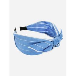 axy Haarreif Haarreif mit Schleife in Tuchoptik, Vintage Damen Breiter Haareifen Haarband blau