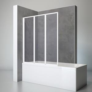 Schulte D1300 04 01 Duschwand Well, 127 x 140 cm, 3-teilig faltbar, Kunstglas Softline hell mit Tropfen-Dekor, alpin-weiß, Duschabtrennung für Wanne