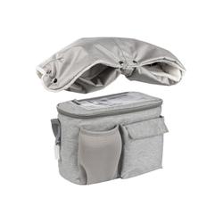ONVAYA Kinderwagen-Tasche Kinderwagenmuff und Kinderwagen Organizer, Schwarz und Grau, Handschuhe, Kinderwagentasche grau