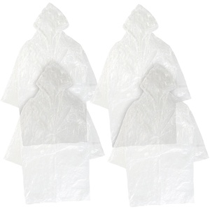 4er-Set Notfall-Regenmäntel mit Kapuze, Universalgröße, transparent