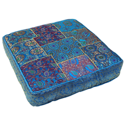 Guru-Shop Sitzkissen Orientalisches eckiges Patchwork Kissen 50 cm,.. blau