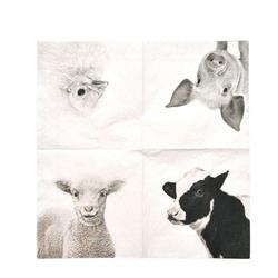 Linoows Papierserviette 20 Cocktail Servietten Bauernhof Tiere, Heimische, Motiv Bauernhof Tiere, Heimische Tiere