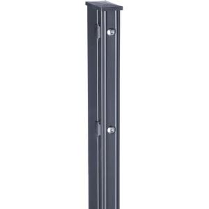 HORI® Pfosten für Doppelstabmattenzaun, grau anthrazit, wahlweise mit Klemmhalter, Abdeckschiene, Aufschraubkonsole oder Aufschraubwinkel I für Zaunhöhe 123 cm