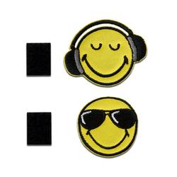 Smiley Aufnäher, Polyester, Smiley © Smiley Sonnenbrille und Kopfhörer Klett - Aufnäher, Bügelbild, Aufbügler, Applikationen, Patches, Flicken, zum aufbügeln, Größe: 3,6 x 3,6 cm