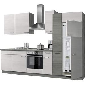 Express Küchen Plan 300 cm, weiß, Arbeitsplatte Eichefarben grau, ohne E-Geräte Küchenzeilen, Holz