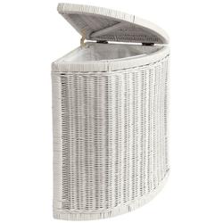 Wäschekorb aus Rattangeflecht weiß ca. 55/34/34 cm