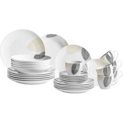 MÄSER Kombiservice Jona, (Set, 30 tlg.), mit Blätterdekor weiß Geschirr-Sets Geschirr, Porzellan Tischaccessoires Haushaltswaren