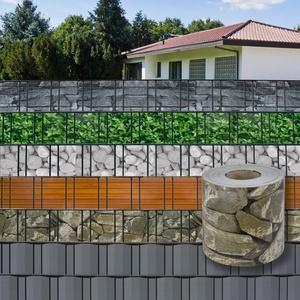 DEMA PVC Sichtschutzstreifen 35 m x 19 cm Stein-Optik