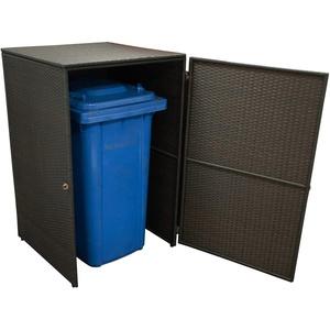 Gartenmoebel Mülltonnenbox groß 76x78x123cm für Tonnen bis 240 Liter, Stahl + Polyrattan Mocca Mülltonnenaufbewahrung