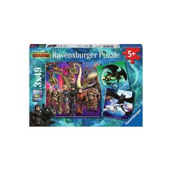 Ravensburger Puzzle 3er Set Puzzle, je 49 Teile, 21x21 cm, Dragons, Puzzleteile