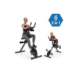 KLARFIT Fahrradtrainer Fusion Bike Fahrrad-Heimtrainer 3in1 Cardio-/Standing Bike AB Trainer