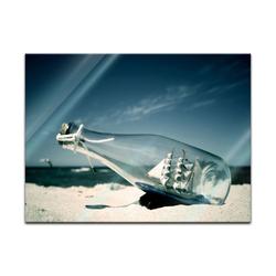 Bilderdepot24 Wandbild, Glasbild - Buddelschiff - Schiff in der Flasche 80 cm x 60 cm