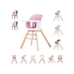 Chipolino Hochstuhl Hochstuhl 2 in 1 Rotto Kinderstuhl, drehbarer Sitz, Höhe verstellbar rosa