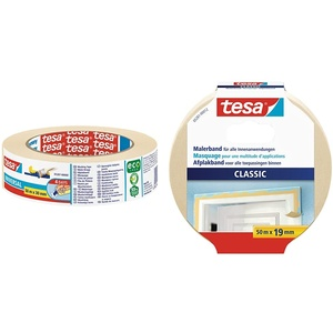 tesa Malerband - Vielseitiges Klebeband für Malerarbeiten ohne Lösungsmittel - Mittel, 50 m x 30 mm & Malerband CLASSIC - Abdeckband zum Abkleben bei Malerarbeiten - rückstandslos entfernbar - 50 m