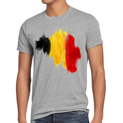 style3 Print-Shirt Herren T-Shirt Flagge Belgien Fußball Sport Belgium WM EM Fahne grau M