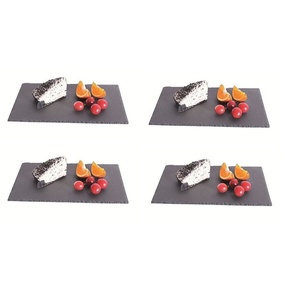4 Stück Naturschieferplatte Schieferplatte Schieferplatten rechteckig 40 x 30 cm