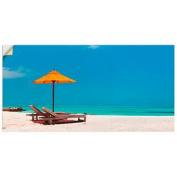 Artland Wandbild Liegestuhl Sonnenschirm Strand Malediven, Strand (1 Stück) 150 cm x 75 cm