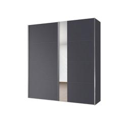 Express Solutions Schwebetürenschrank mit Spiegel grau 200 cm x 216 cm x 68 cm