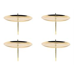 BigDean Kerzenständer 4er Set Kerzenteller mit Dorn − Gold glänzend