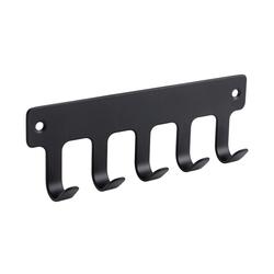 SOSmart24 Handtuchhalter Handtuchhaken Schwarz Matt 5-fach aus Metall - Handtuchhalter Bad und WC