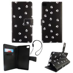 Handyhülle Tasche für Handy Huawei P8 Polka Dot Hundepfoten