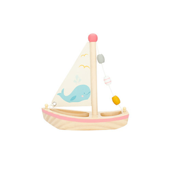 Kinder Boot Spielzeug Holz 20x18 cm Badewannenspielzeug Wasserspielzeug Badespaß Badespielzeug weiß