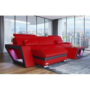 Sofa Eckcouch Designersofa Couch CATANIA L Form Rot Leder Eck Ledersofa Luxus