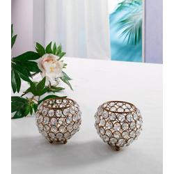 Home affaire Teelichthalter Kristall (Set, 2 Stück) braun