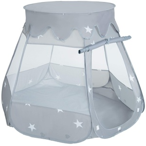 SELONIS Baby Spielzelt Mit Plastikbällen Bällebad Zelt Plastikkugel Kinder, Grau,105X90
