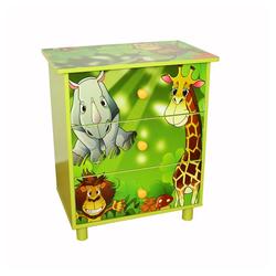 Homestyle4u Kommode, Kinderkommode *Dschungel* grün 48 cm x 57 cm x 30 cm