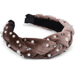 styleBREAKER Haarband Haarreif Samt geflochten mit Perlen, 1-tlg., Haarreif Samt geflochten mit Perlen braun