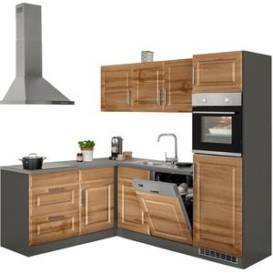 HELD MÖBEL Winkelküche Stockholm, ohne E-Geräte, Stellbreite 230/170 cm, mit hochwertigen MDF Fronten im Landhaus-Stil beige L-Küchen Küchenzeilen -blöcke Küchenmöbel