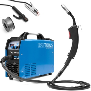 IPOTOOLS MIG-160ER Inverter Schweißgerät MIG MAG - Schutzgas Schweissgerät mit 160 Ampere auch FLUX/Fülldraht und Elektroden geeignet/E-Hand/Digitalanzeige/IGBT / 230V / 7 Jahre Garantie