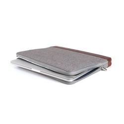 KMP Sleeve - Echtleder für Laptop/MacBook Tasche (max. 13 Zoll) – grau pink - aus Textil & Echtleder
