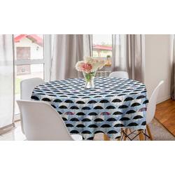 Abakuhaus Tischdecke Kreis Tischdecke Abdeckung für Esszimmer Küche Dekoration, Regenschirm Dunkle und Bunte Sonnenschirme